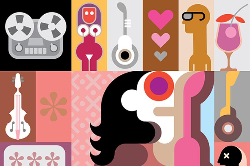 music-pop-art-collage-vector-illustration