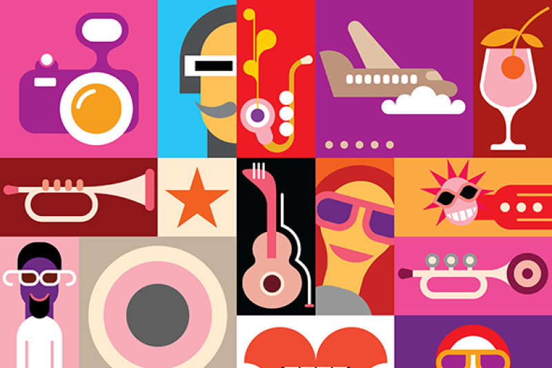 music-festival-pop-art-collage-vector-illustration