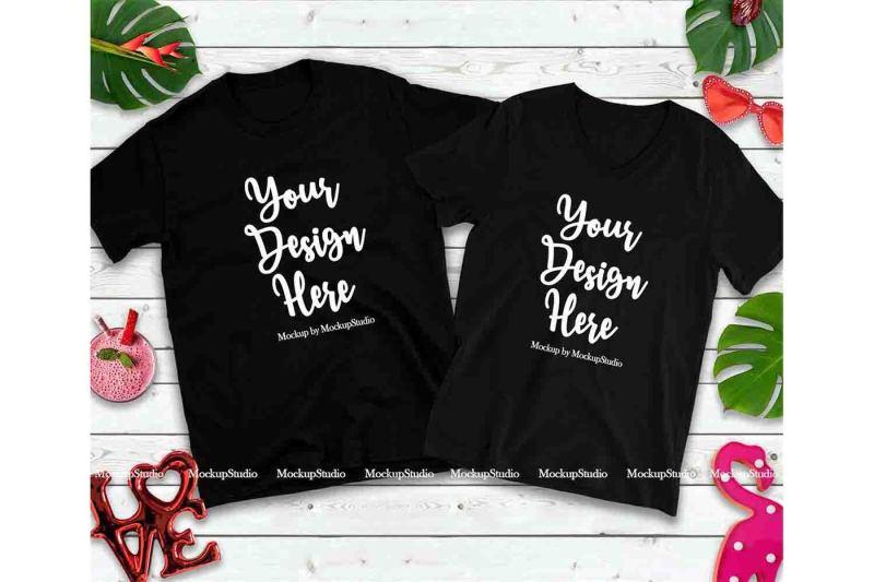 Free Matching Couple Two Black T-Shirts Mockup, Valentine Shirt Flat Lay (PSD Mockups)