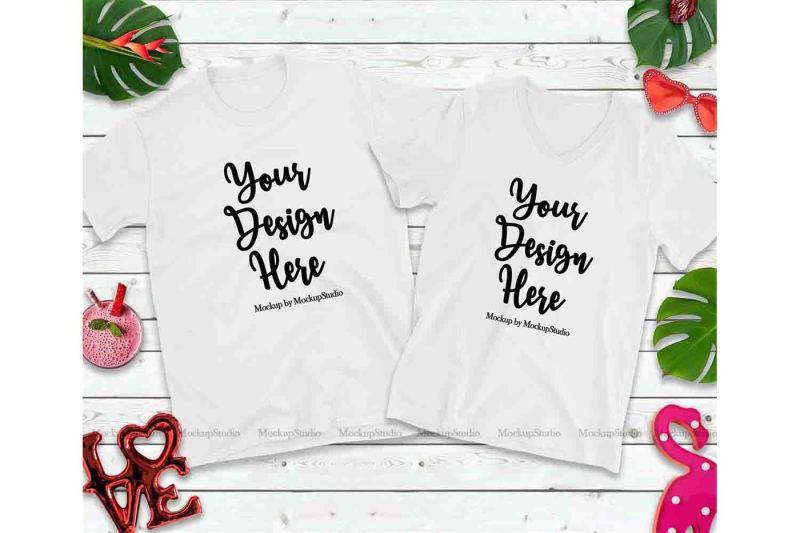 Free Matching Couple Two White T-Shirts Mockup, Engagement Holiday Shirt (PSD Mockups)