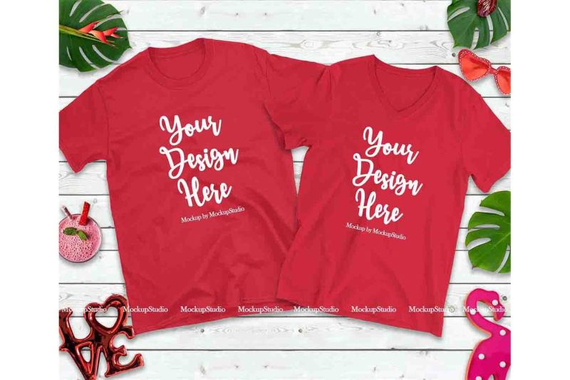 Free Matching Couple Two RedT-Shirts Mockup, Valentine Shirt Flat Lay (PSD Mockups)