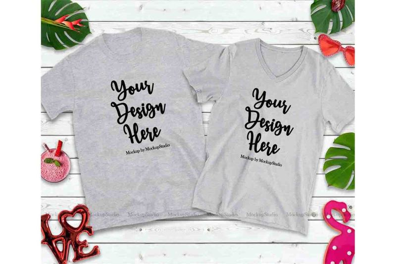 Free Matching Couple Sport Grey T-Shirts Mockup, Valentine Shirt Mock Up (PSD Mockups)