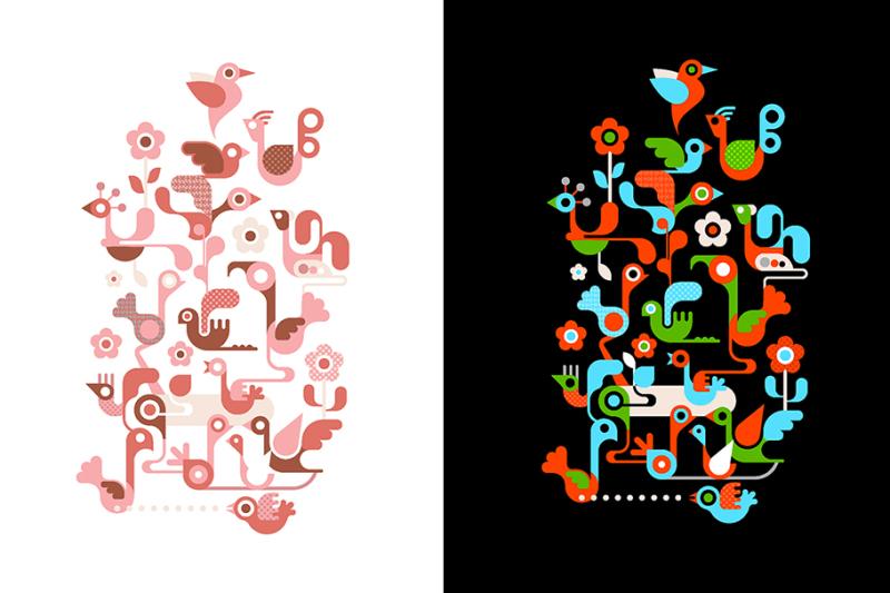 birds-on-the-tree-vector-design