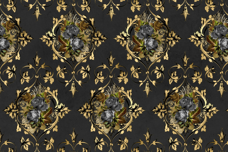 baroque-black-floral-digital-paper