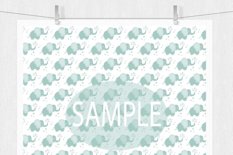 baby-elephant-digital-paper-patterns-green