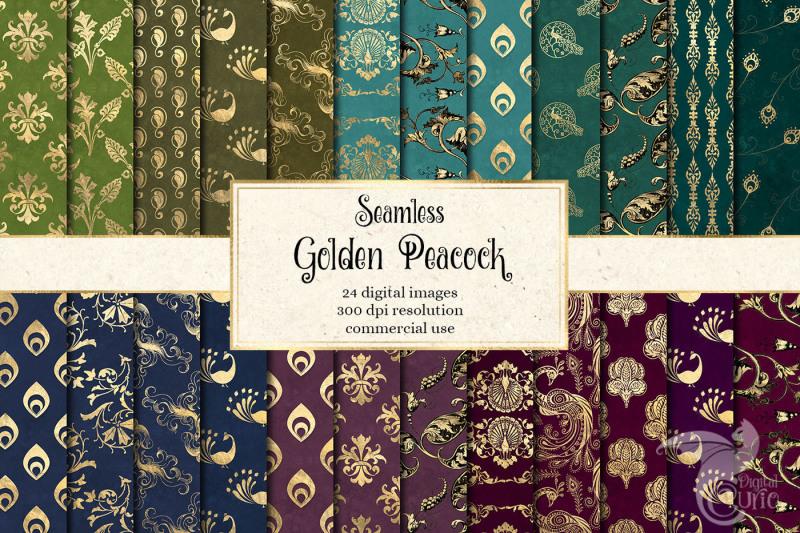 golden-peacock-digital-paper