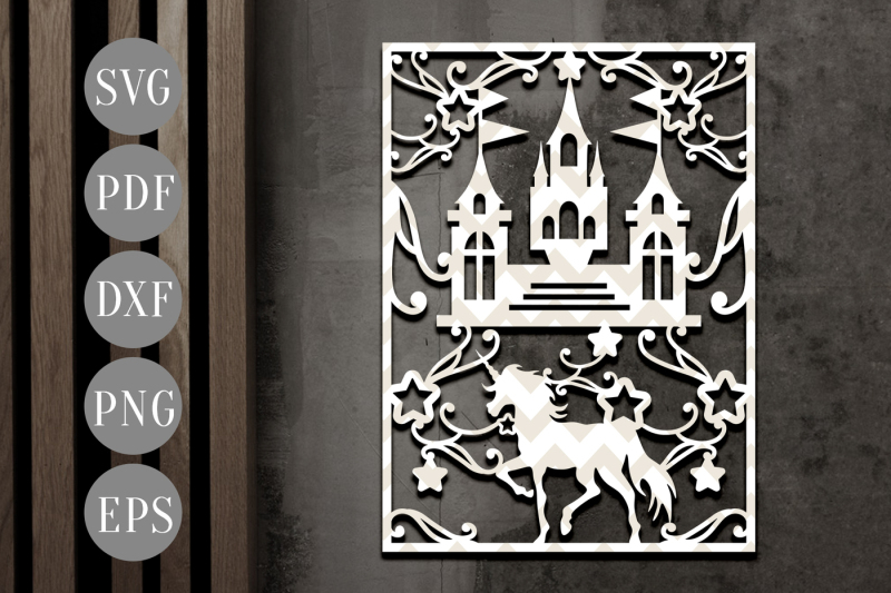 unicorn-fantasy-papercut-template-castle-clipart-svg-dxf-pdf