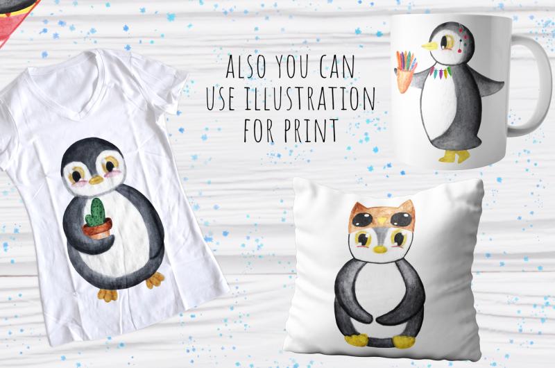 watercolor-penguins