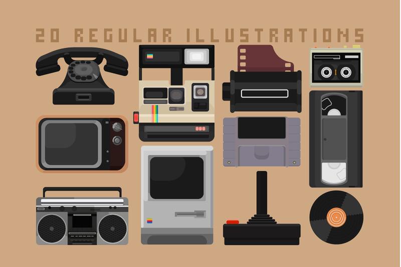 glitch-retro-design-set