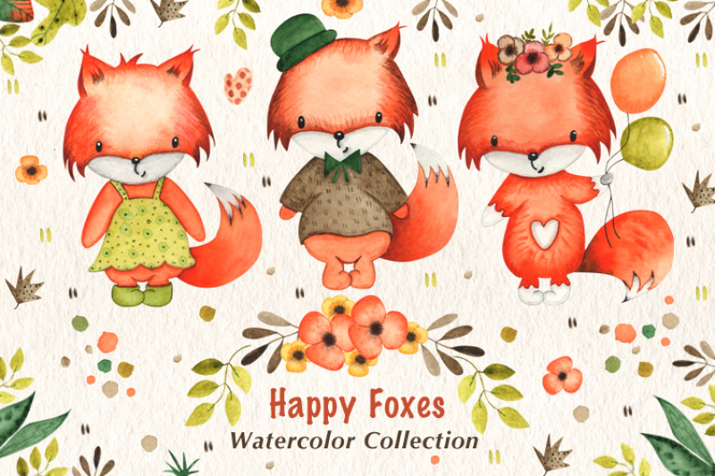 happy-foxes-watercolor-collection