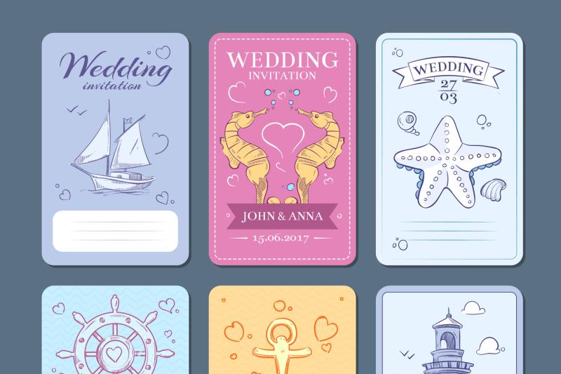 marine-sea-voyage-vector-wedding-invitation-cards-set