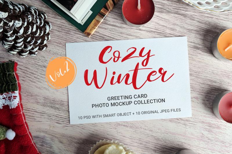 Free Cozy Winter - greeting card photo mockups - v.2 (PSD Mockups)