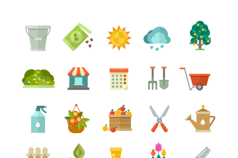 garden-tools-gardening-equipment-flat-vector-icons