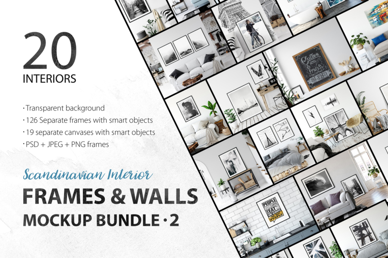 Free Scandinavian Interior Frames & Walls Mockup Bundle - 2 (PSD Mockups)