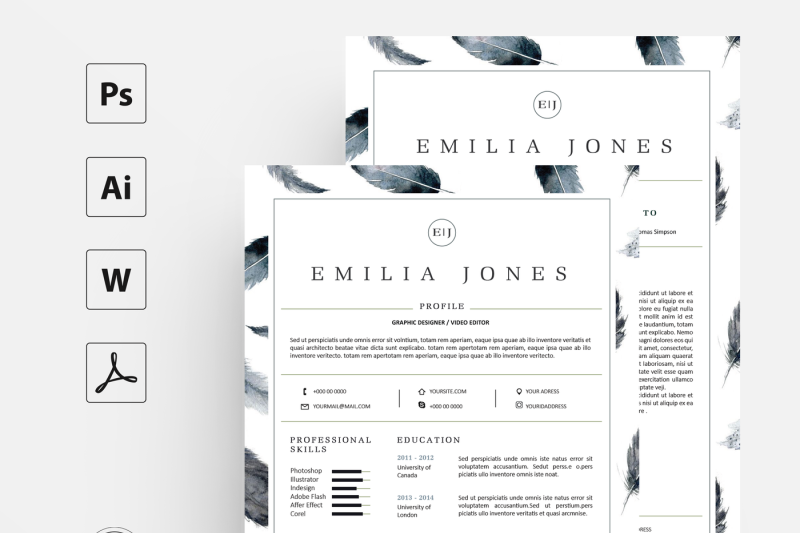 feather-resume-template-coverletter-template