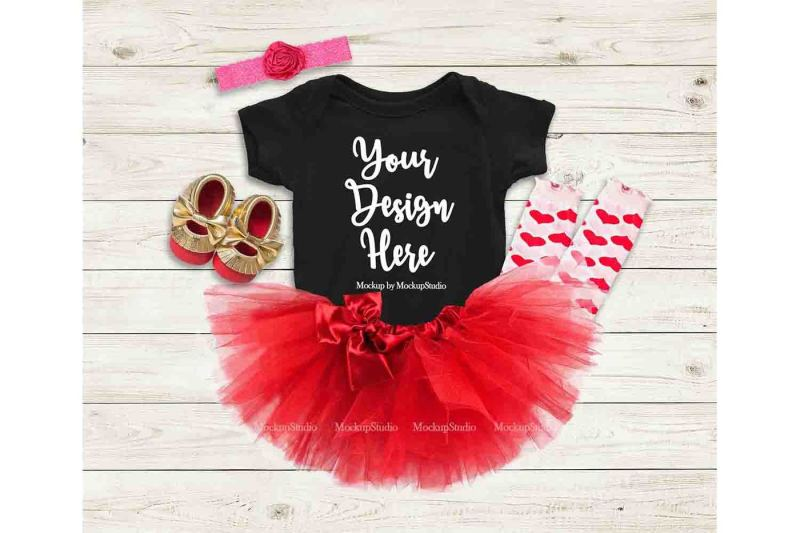 Free Baby Girl Black Bodysuit Mockup, Toddler Valentine Onepiece Flat Lay (PSD Mockups)
