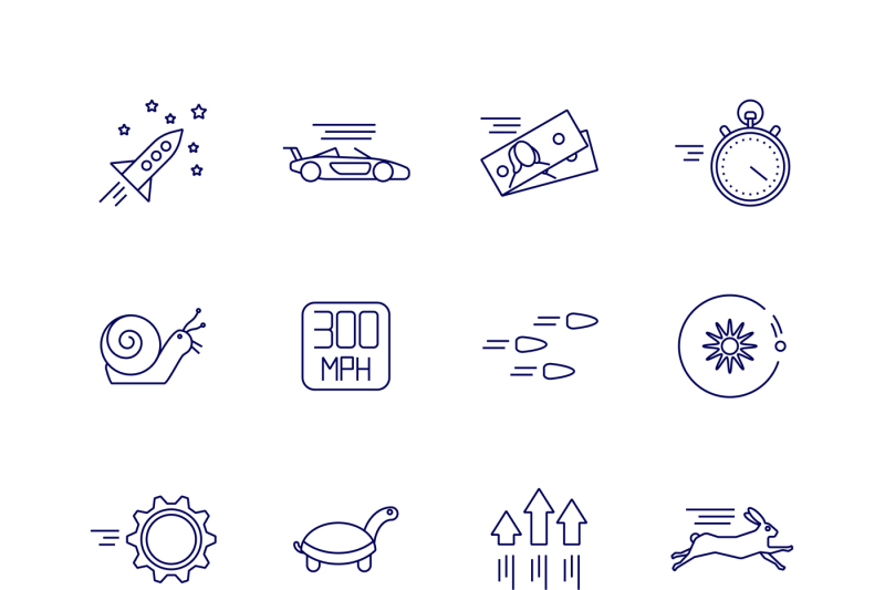 motion-and-speed-linear-icons-slow-and-fast-vector-signs