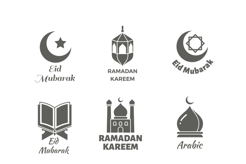 arabic-muslim-vector-logo-set-islamic-spiritual-labels