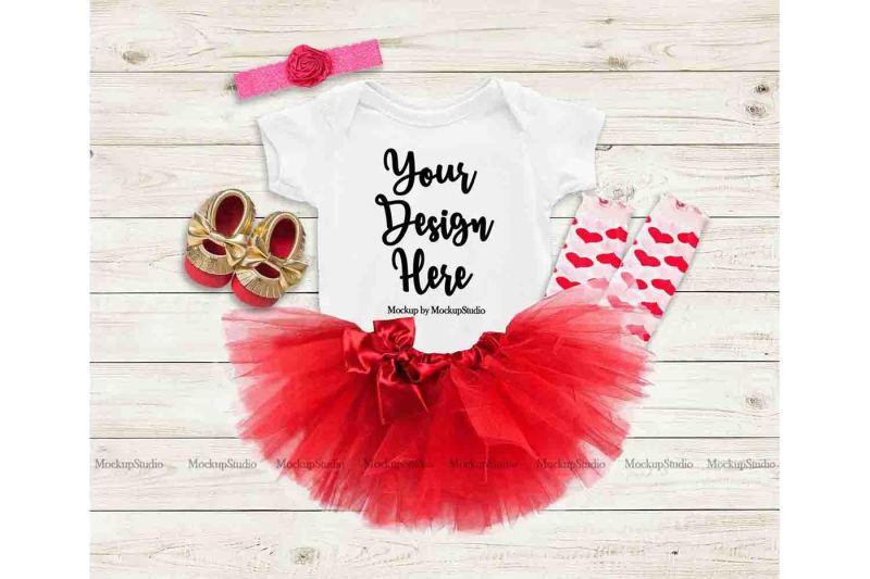 Free Baby Girl White Bodysuit Mockup, Toddler Valentine Flat Lay (PSD Mockups)