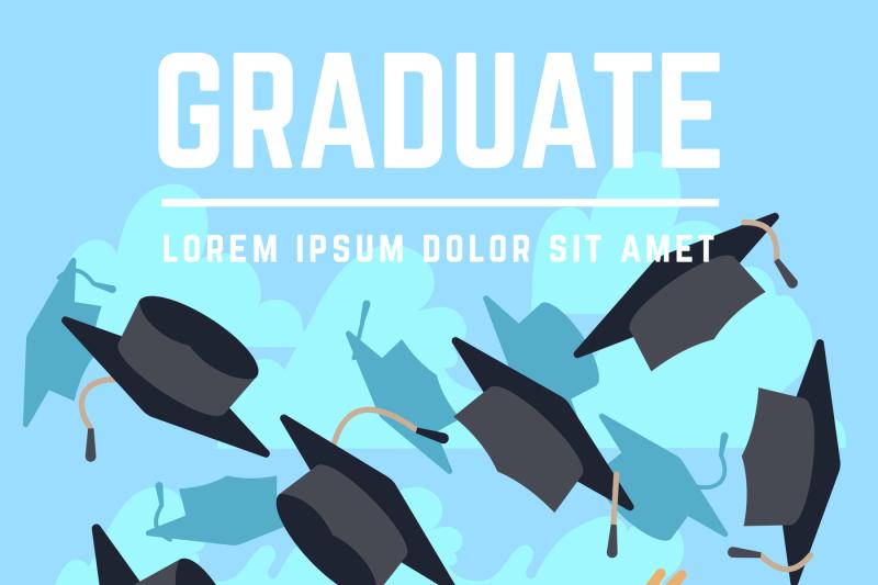 high-school-graduating-students-throw-black-graduation-caps-up-in-sky