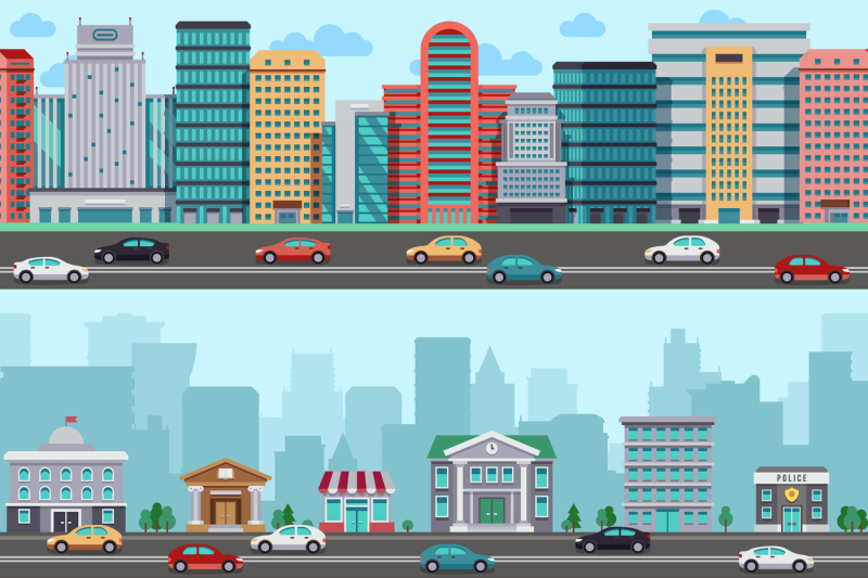 city-street-with-cars-and-buildings-vector-wrapper-panoramic-urban-de