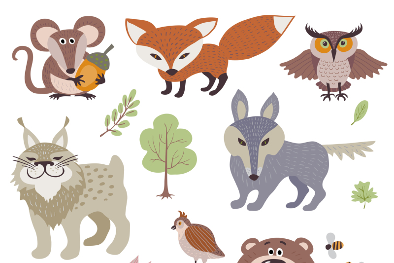 happy-cartoon-and-funny-wood-animals-in-forest-vector-collection