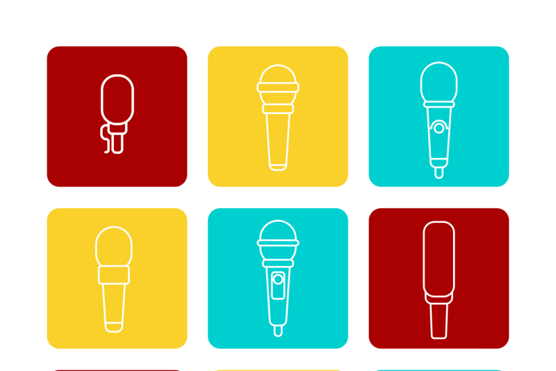 white-microphone-line-icons-set