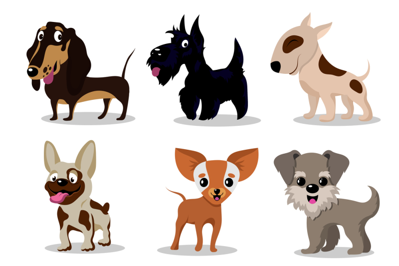 cute-happy-dogs-cartoon-funny-puppies-vector-characters-collection