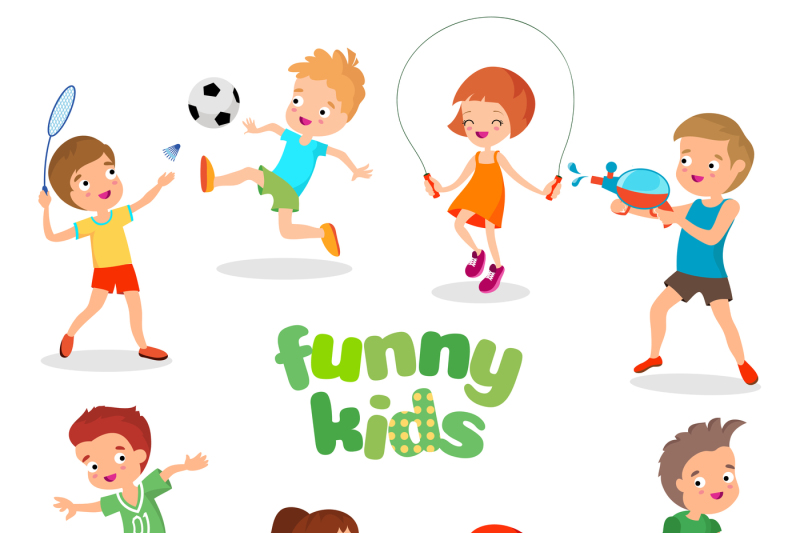 uniformed-happy-kids-playing-sports-active-children-vector-characters