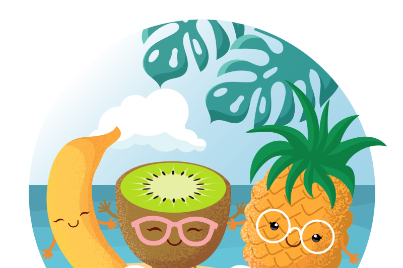 summer-beach-party-vector-background-with-tropical-funny-cute-smiling