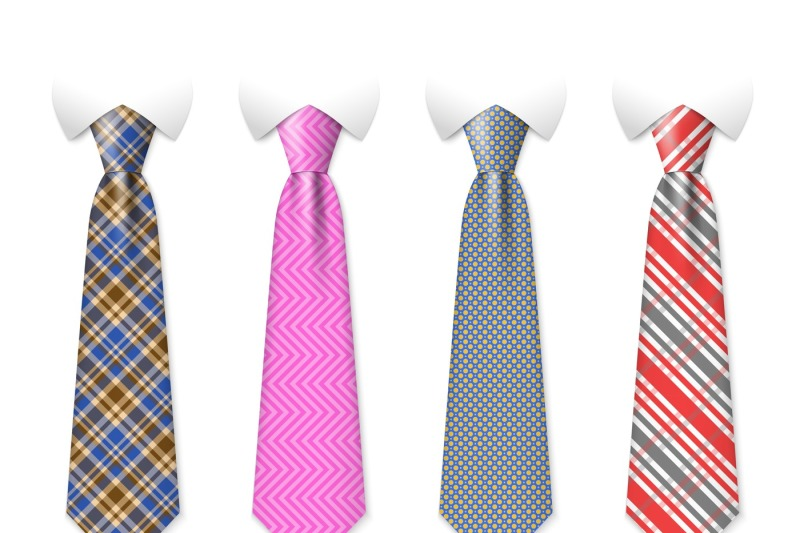 neck-ties-vector-templates-with-plaid-texture-design