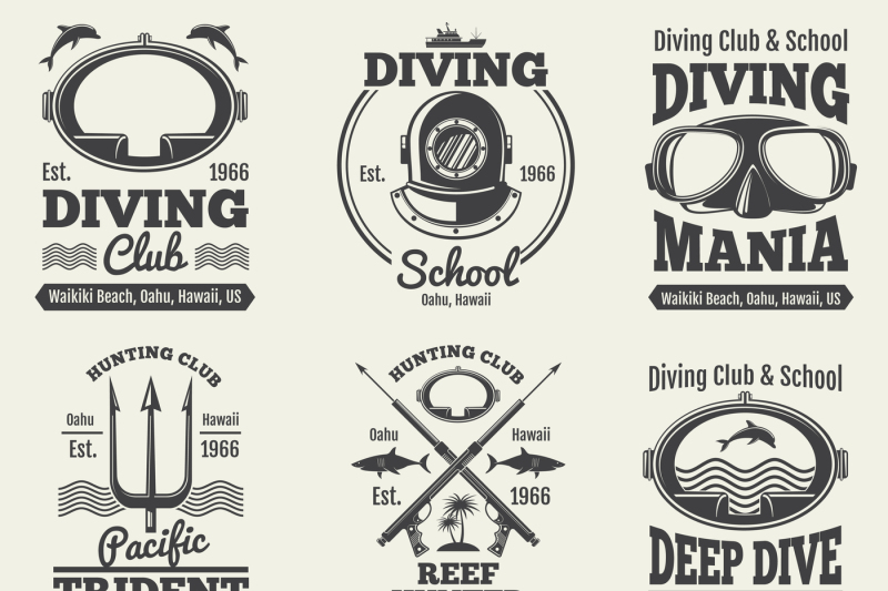 scuba-diving-vintage-vector-labels-spearfishing-retro-seal