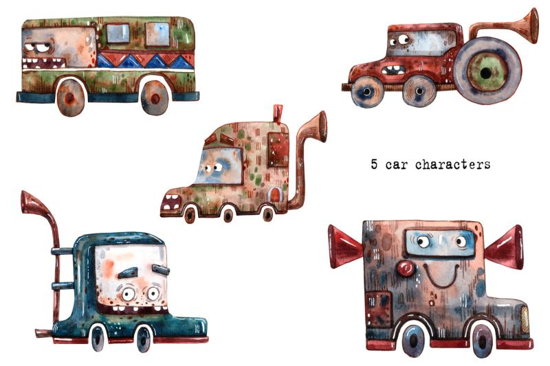 robots-watercolor-clip-art-set