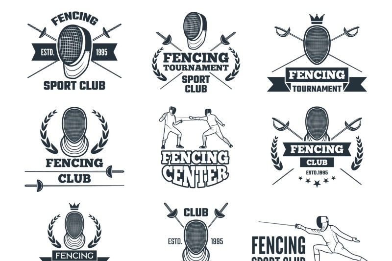 labels-set-for-fencing-sport-monochrome-pictures-of-rapiers-sword-ma