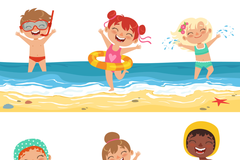 kids-playing-in-water-vector-characters-isolate