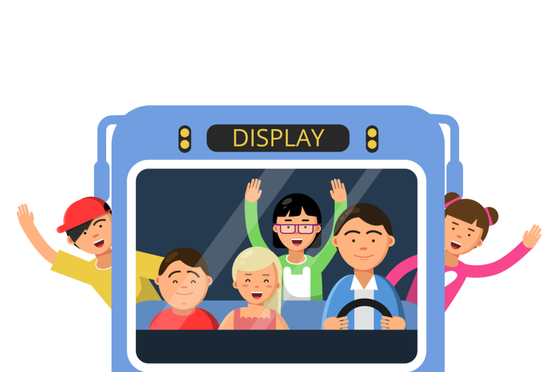 front-view-of-school-bus-with-set-of-happy-childrens-and-driver
