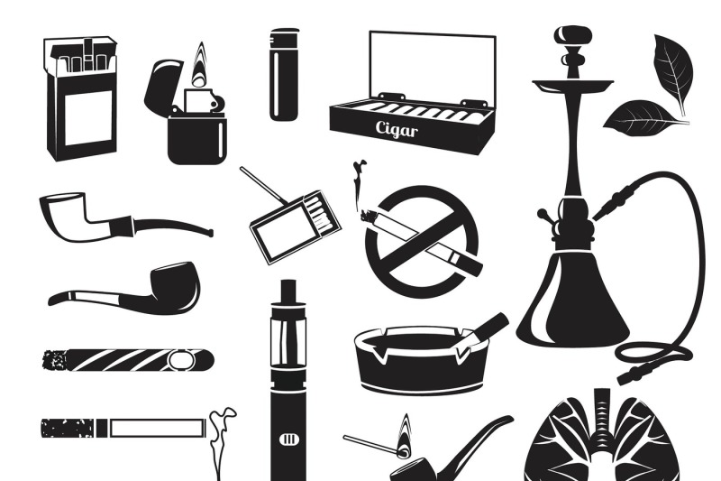 monochrome-pictures-of-hookah-tobacco-leaves-cigars-cigarettes-and-o