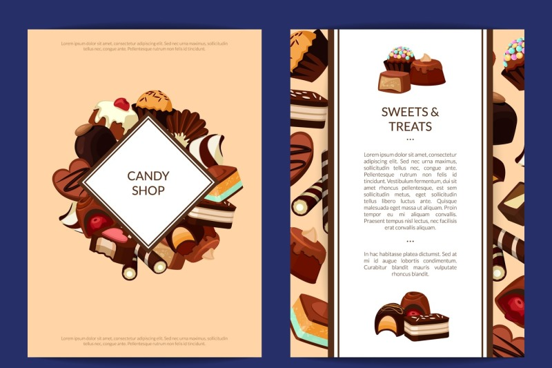 vector-card-or-flyer-templates-set-with-cartoon-chocolate-candies