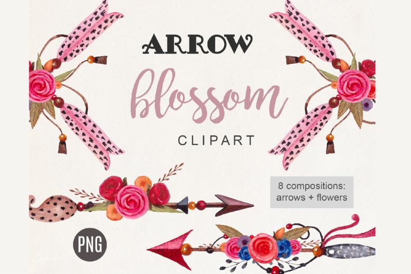 arrow-clipart-boho-watercolor-tribal