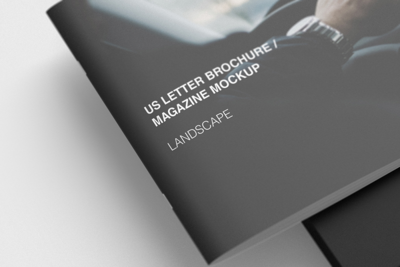 Free US Letter Landscape Brochure Mockup (PSD Mockups)
