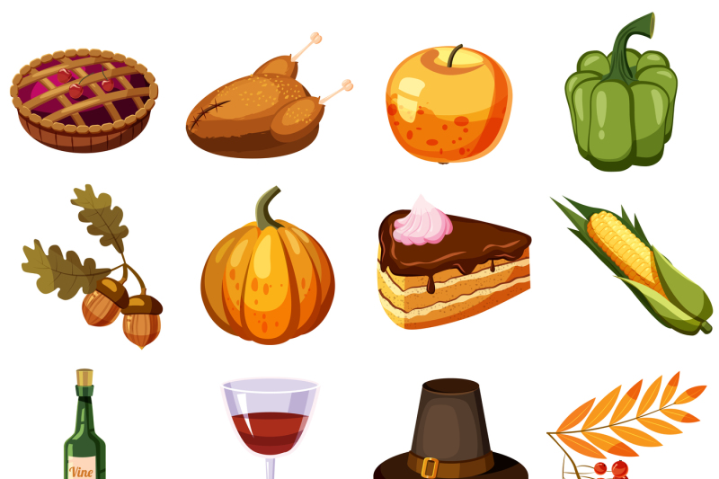 thanksgiving-day-icons-set-cartoon-style