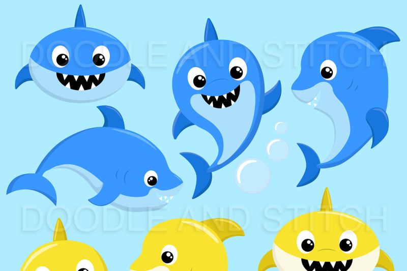 shark-family-clipart-illustrations