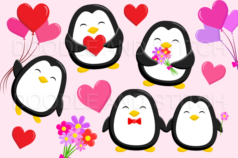 valentines-penguin-clipart-illustrations