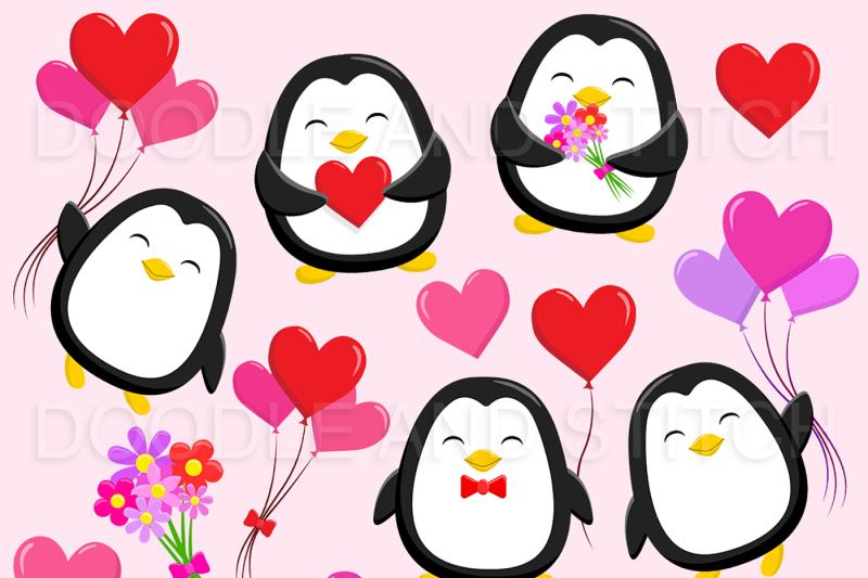 valentines-penguin-clipart-illustrations