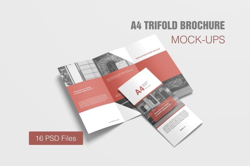 Free A4 TriFold Brochure Mockup (PSD Mockups)