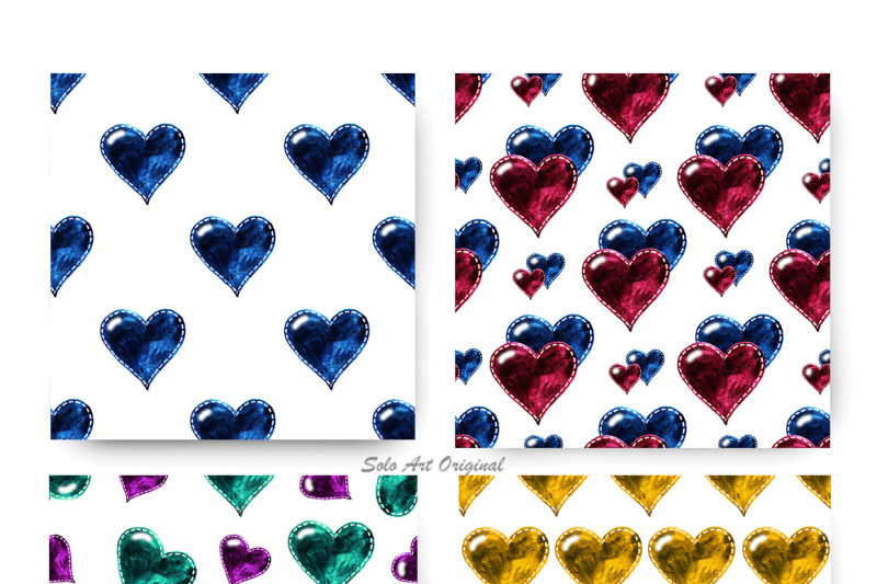 glass-hearts-watercolor-seamless-patterns