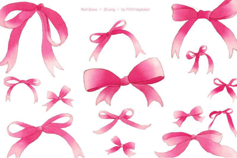 red-ribbon-pink-bows-watercolor-christmas-holiday