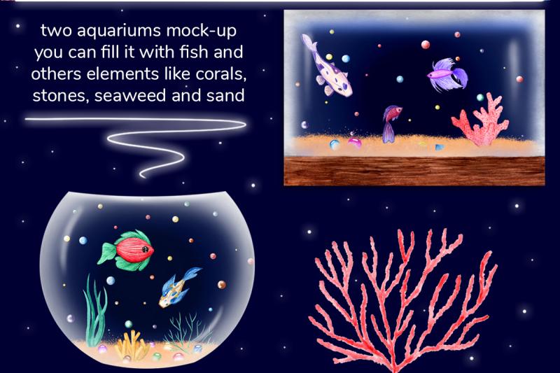 watercolor-fish-big-set-aquarium-mock-up