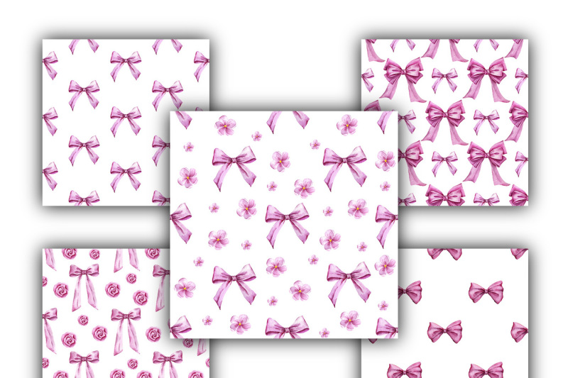 funny-bows-watercolor-seamless-pattern