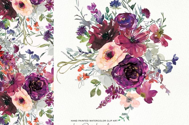 watercolor-purple-burgundy-flowers-arrangement-clipart